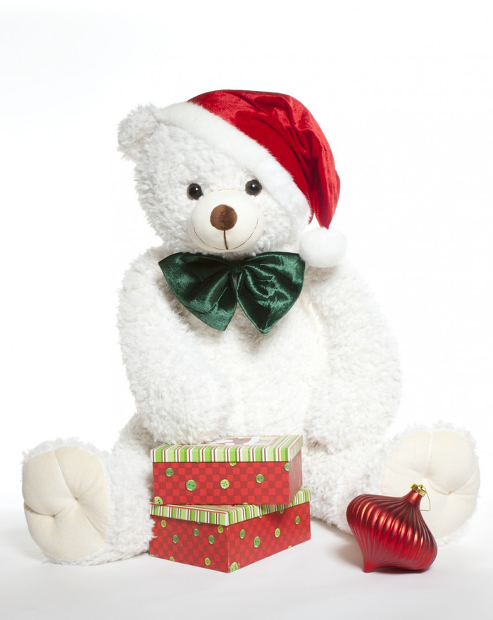 Wishing you a White Teddy Bear Christmas!  42 inch Bell Woolly Tubs bear in Santa hat.