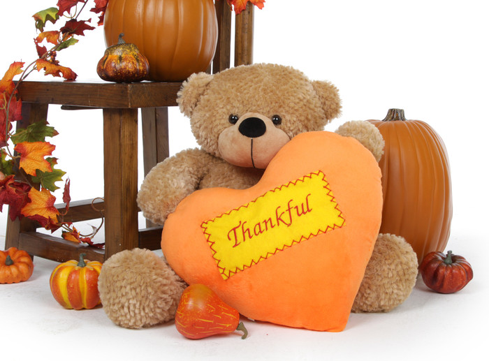 24 inch Shaggy Cuddles is a Giant Teddy bear holding a plush orange heart that says Thankful on it and makes a great Thanksgiving gift idea.