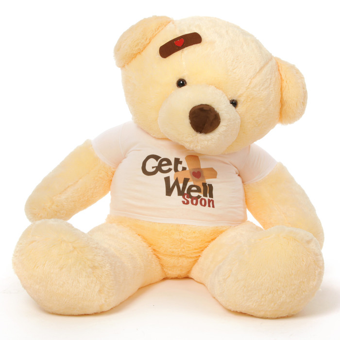 5ft Get Well Soon Vanilla teddy bear, Smiley Chubs