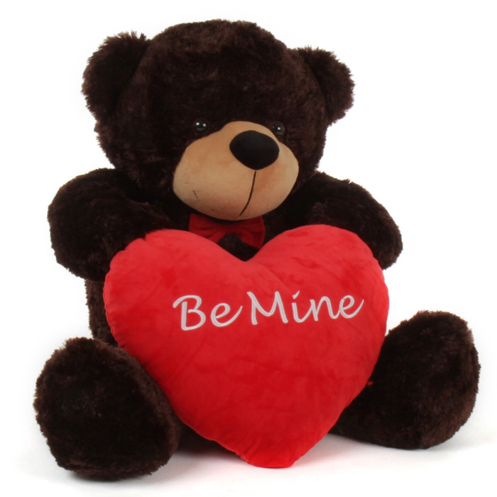 """3 Foot """"Be Mine"""" Valentine's Day Teddy Beart with red heart pillow"""