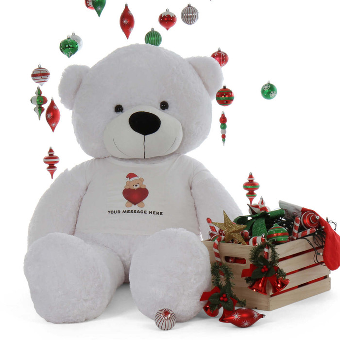 Life Size 6ft Personalized White Christmas Teddy Bear Coco Cuddles
