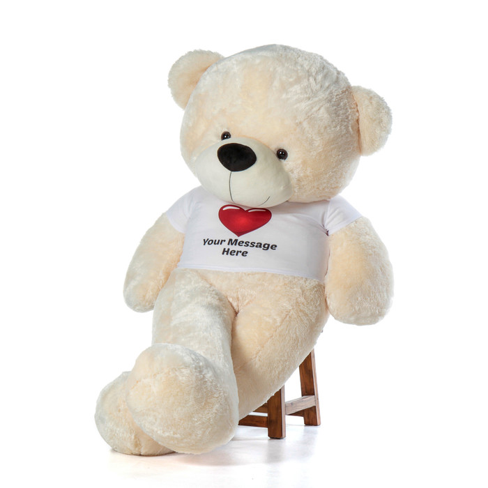 6ft life size Personalized Teddy Bear Vanilla Cream Cozy Cuddles Red Heart Shirt