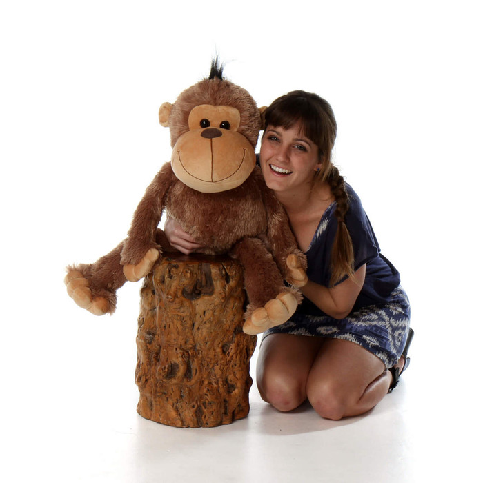 30in Giant super Plush Monkey Funny Freddy with soft brown fur from Giant Teddy brand