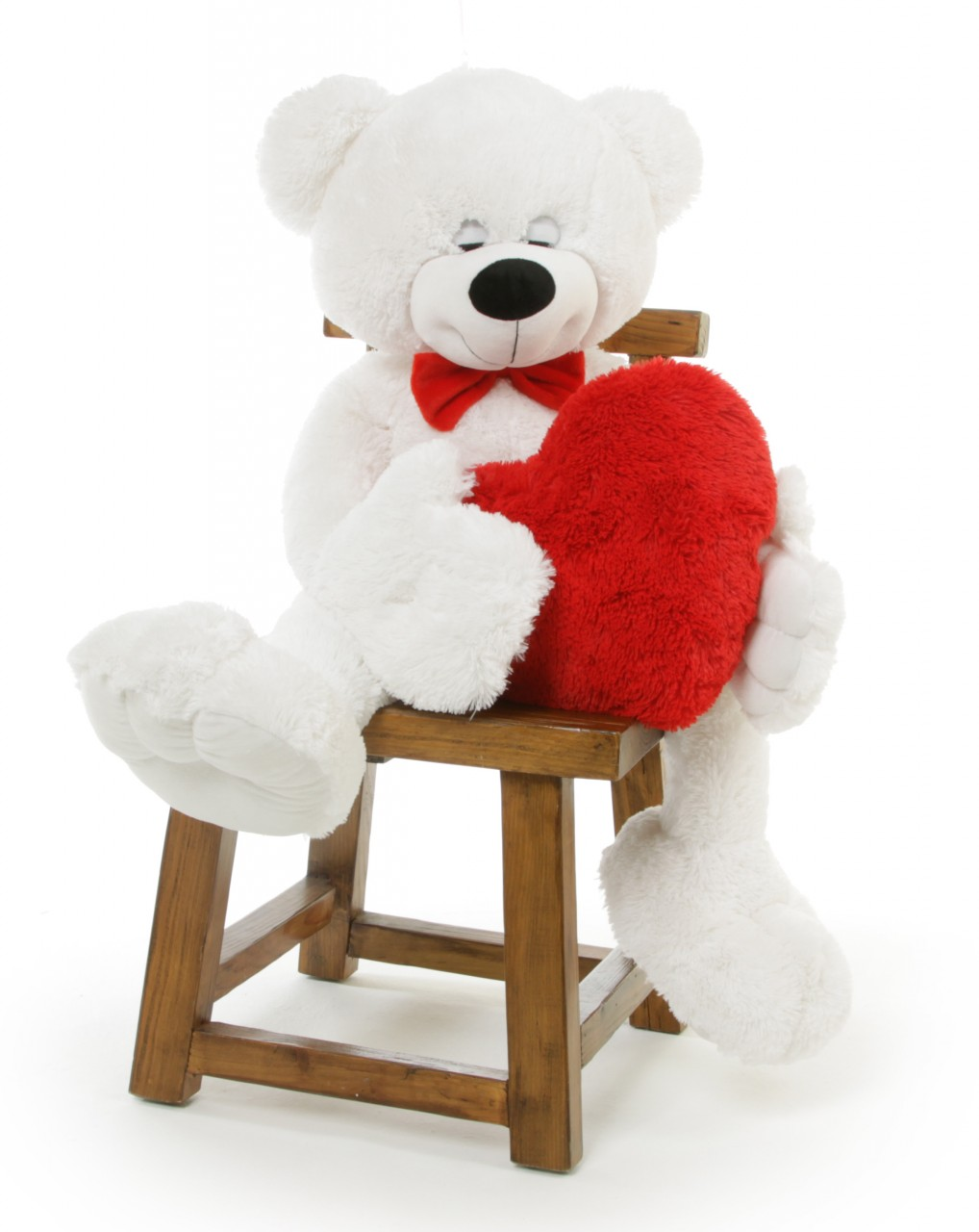 Giant White Teddy Bear Holding A Heart Is A Unique Valentine S Day Gift Idea 52in