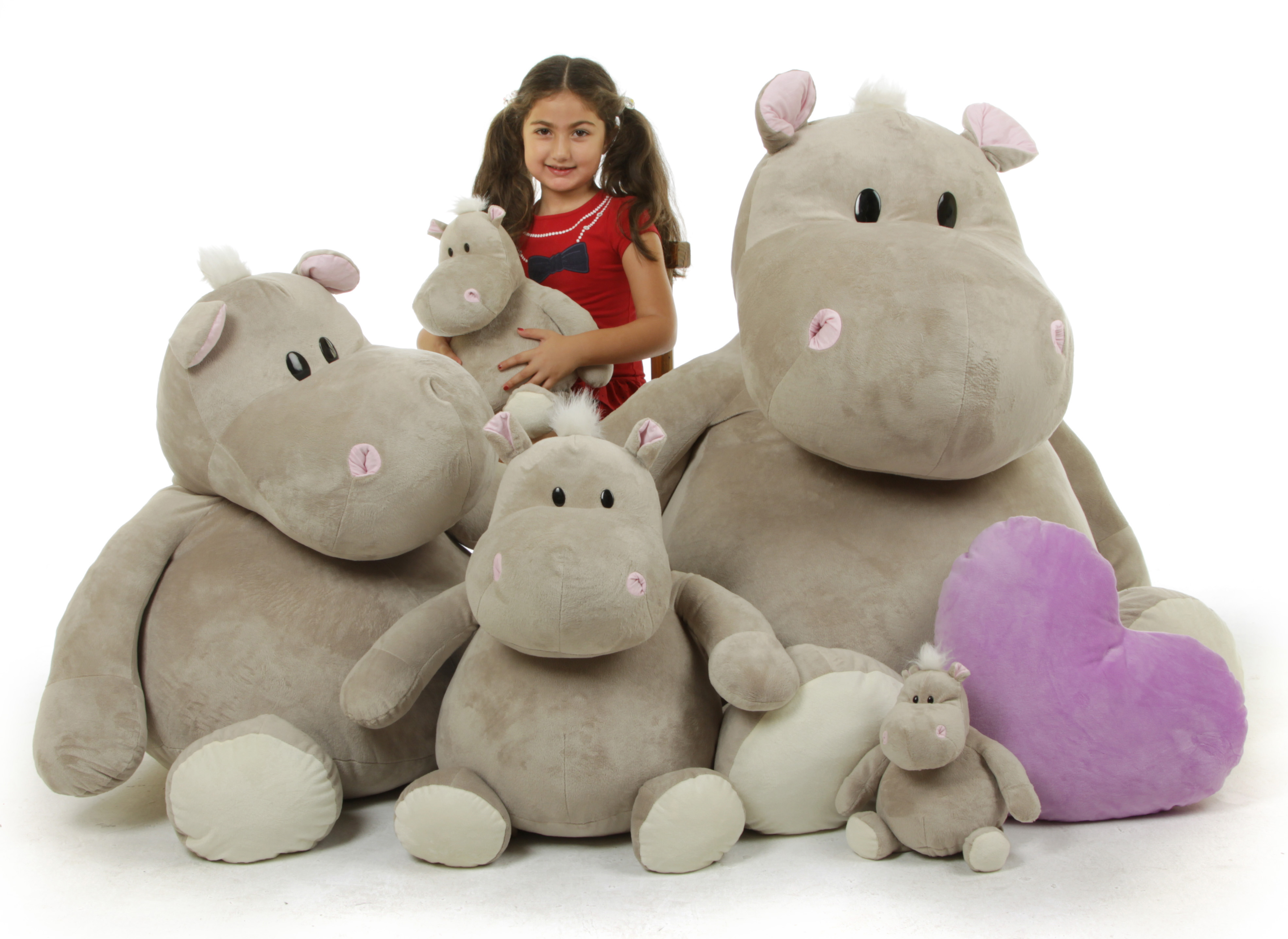 5 giant stuffed hippo
