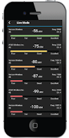Cell LinQ Pro signal meter app Live Mode screen