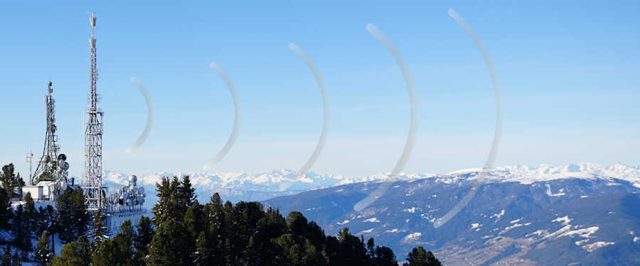 Cell phone towers on a mountain