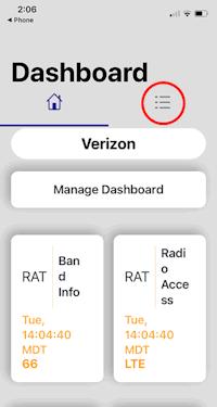iPhone iOS 15 Field Test Mode Dashboard screen