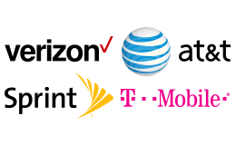 Carrier logos for Verizon, AT&T, T-Mobile, Sprint