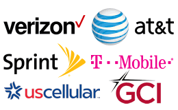 Carrier logos for Verizon, AT&T, T-Mobile, Sprint, UScellular, GCI Alaska