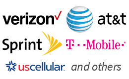 Carrier logos for Verizon, AT&T, Sprint, T-Mobile, UScellular