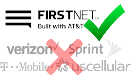 FirstNet logo with other carrier logos crossed out