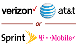Carrier logos for Verizon & AT&T or T-Mobile & Sprint