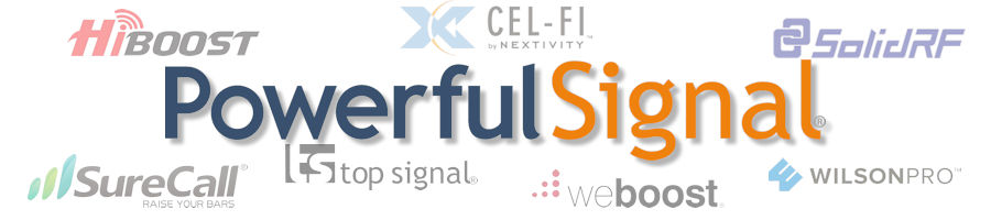 Powerful Signal logo with HiBoost, Cel-Fi, SolidRF, SureCall, Top Signal, weBoost, WilsonPro logos