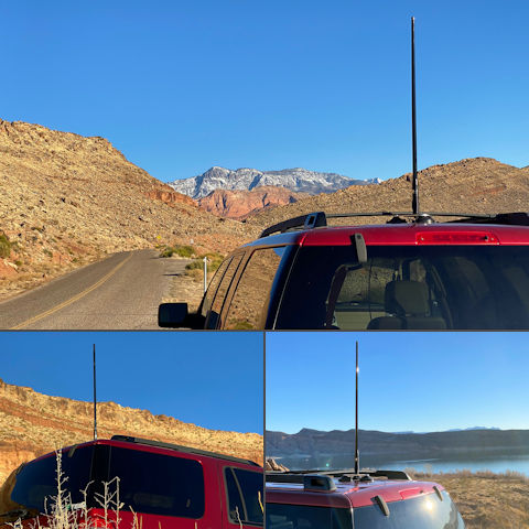 LTE Vehicle Antenna RFI Quick-Release 38-Inch Whip 6.5 dBi 698–2700 MHz TS210701 Mounted to a Ford Expedition SUV with the Top Signal MagMAX 3X OTR Trucker Magnetic Antenna Mount TS432011