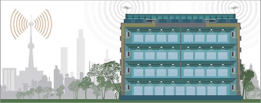SolidRF Fiber DAS 4400 office building installation diagram with 2 Master Units and 8 Remote Units
