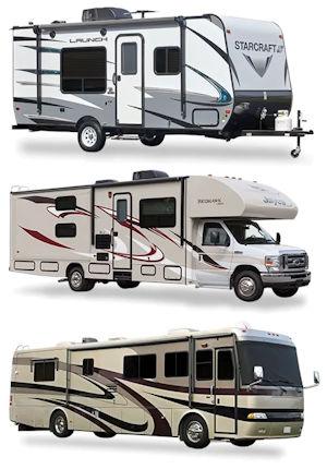 trailer, class C motorhome, class A motor coach