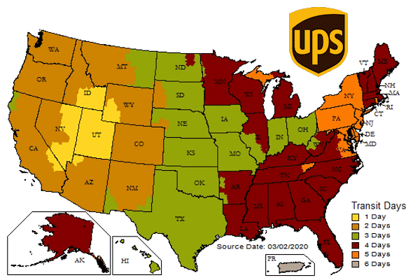Map with UPS Ground time-in-transit for Powerful Signal shipments