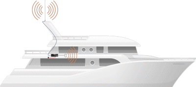 Coastal Cruising Marine Cel-Fi GO Cell Signal Booster with 82-Inch High-Gain Antenna setup diagram