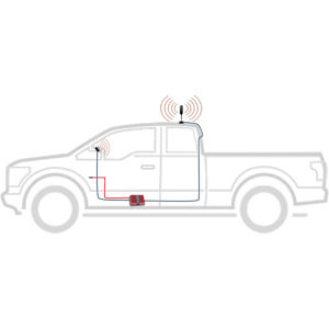 weBoost Drive Reach OTR 472154 pickup truck with MagMAX antenna mount setup diagram