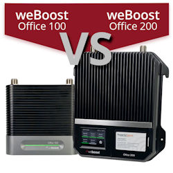 What are the differences between the weBoost Office 100 and weBoost Office 200?