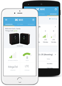The Cel-Fi WAVE app for iPhone and Android smartphones for use with the Cel-Fi PRO Wireless Smart Signal Booster for AT&T P34-2/4/5/12