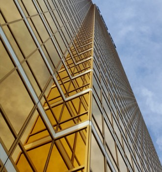 Office tower with gold e-glass windows