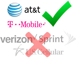 Works with AT&T and T-Mobile; not recommended for Verizon, Sprint, and U.S. Cellular