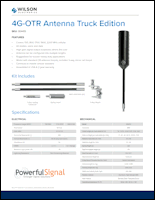 Download the Wilson 4G OTR Antenna Truck Edition 304415 spec sheet (PDF)