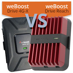 What are the differences between the weBoost Drive 4G‑X and weBoost Drive Reach?