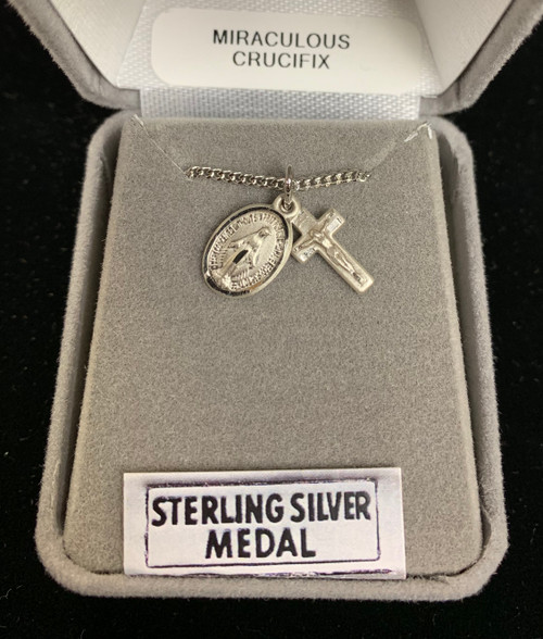 Sterling Silver Miraculous & Crucifix  Necklace Set