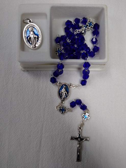 BLUE CRYSTAL ROSARY AND MIRACULOUS MEDAL