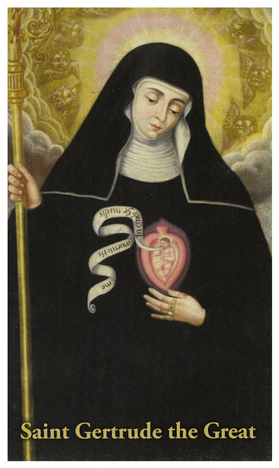 Prayer card St. Gertrude / Holy Souls in Purgatory