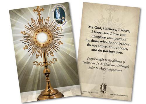 """Laminated Fatima """"My God, I Believe, I Adore"""" Monstrance Holy Card"""