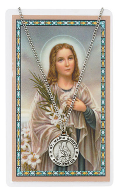 St. Maria Goretti Prayer Card and Necklace