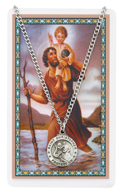St. Christopher Prayer Card and Necklace