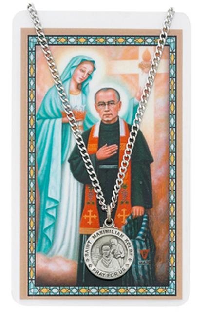 St. Maximilian Kolbe Novena Prayer Card and Necklace