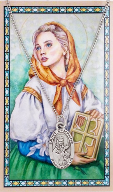 St. Dymphna Prayer Card and Necklace