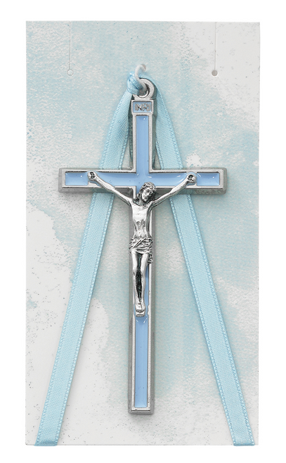 Baby Boy Silver Oxidized Blue Enamel Crib Crucifix