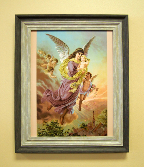 """Heavenly Guardian Angel Sacred Print 11"""" x 14"""" or 18"""" x 24"""" Baptism Gift. Child in Heaven"""