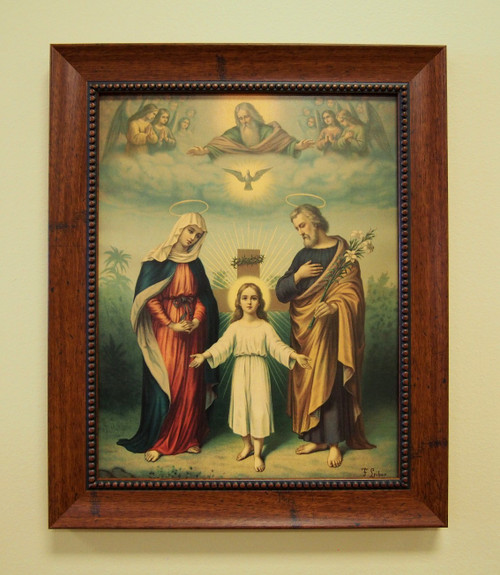 "The Holy Family and Holy Trinity Sacred Print 11"" x 14"" or 16"" x 20"" Saint Joseph God Father Holy Spirit Jesus Child"