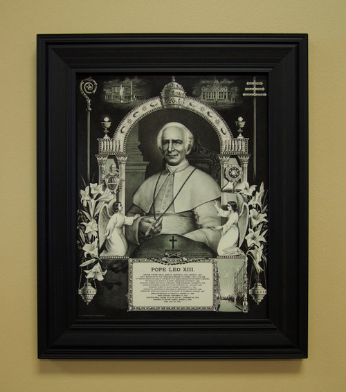 Author of the Saint Michael the Archangel Prayer, Pope St. Leo XIII is a model of sanctity for those who desire to live a devout and pious Christian life. This black and white reproduction is an excellent addition to those who are inspired by Leo XIII.