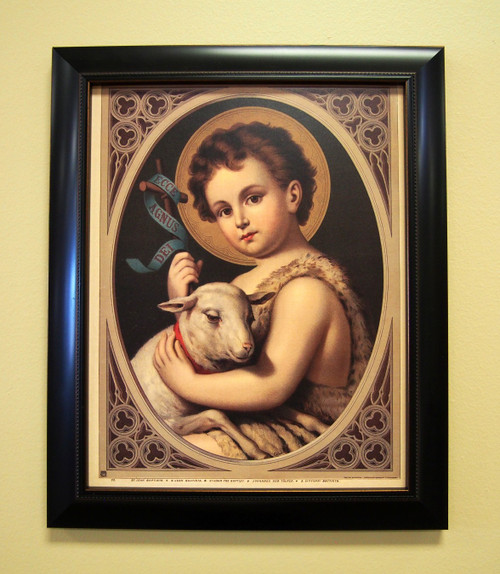 Ready the way of the Lord! St. John the Baptist prepared hearts for the coming of the Messiah. This beautiful reproduction will inspire you and your family live in the world and not of the world. St. John the Baptist desires that we cling to Jesus as he is shown holding the Lamb of God.