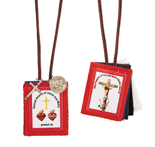 Five Scapulars: Red - The Passion Brown - Our lady of Mount Carmel Blue - Immaculate Conception Black - Seven Dolors of Mary White - Holy Trinity