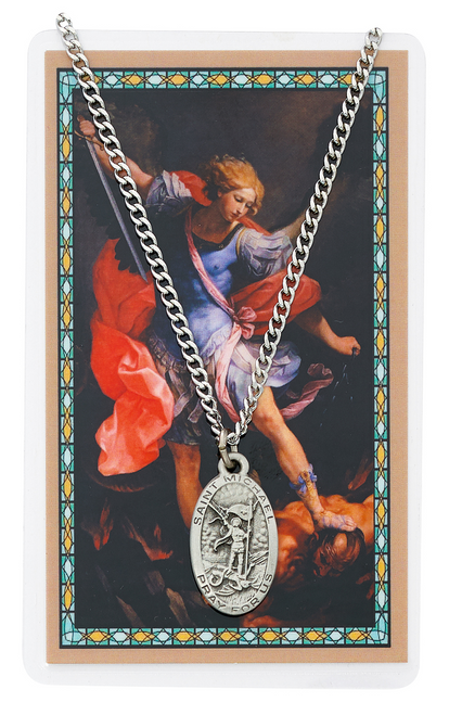 St. Michael Medal, Necklace, and Prayer Card Set