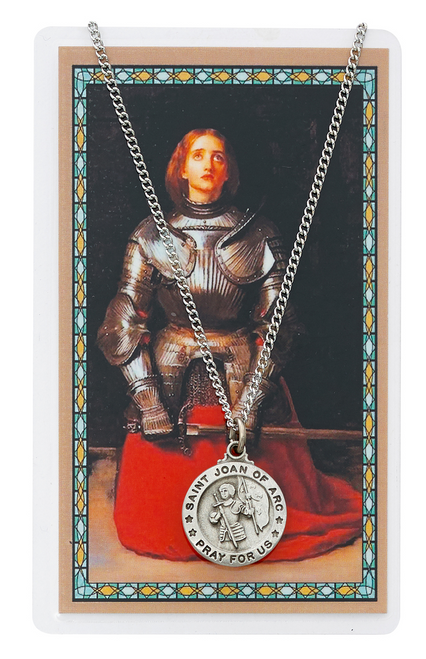 St. Joan of Arc Medal, Necklace, and Prayer Card Set