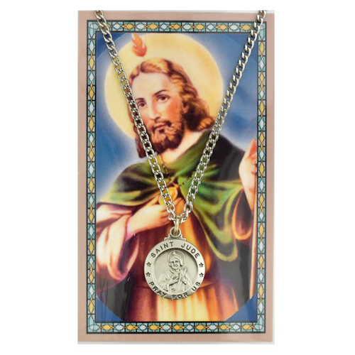 St. Jude Medal, Necklace, and Prayer Card Set