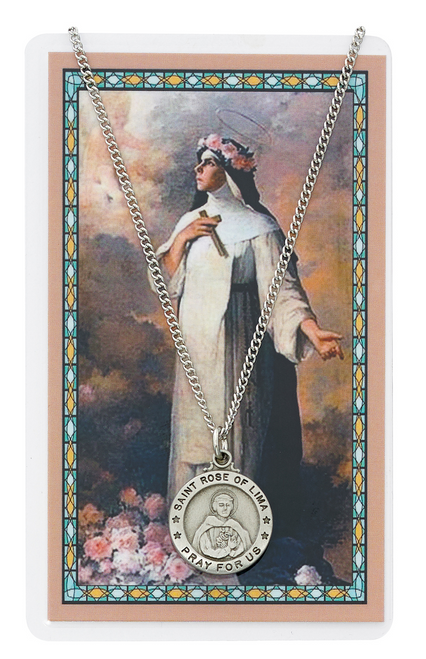 St. Rose of Lima Medal, Necklace, and Holy Card Set