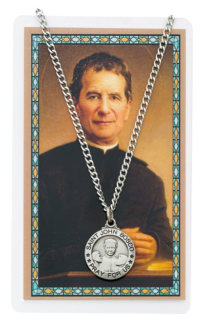 St. John Bosco Medal, Necklace, and Prayer Card Set