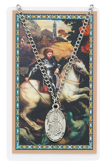 St. George Medal, Necklace, and Prayer Card Set